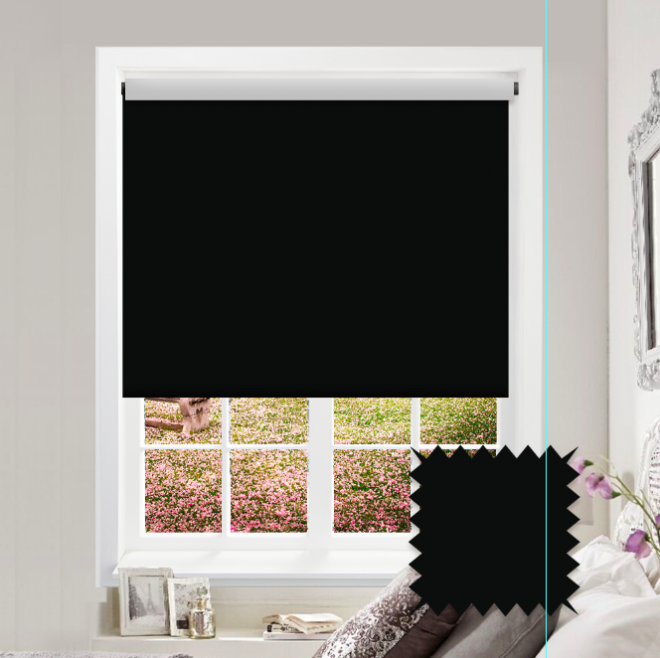 Black Roller Blind - Bahamas Pitch Black Plain - Just Blinds